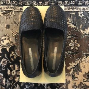 BASS WOVEN LEATHER BLACK SHOES